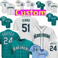 suzuki 11 großhandel-Custom Seattle Herren Mariners Trikot 24 Ken Griffey Jr. 51 Ichiro Suzuki 20 Vogelbach 34 Hernandez 11 Martinez 18 Kikuchi 15 Seager