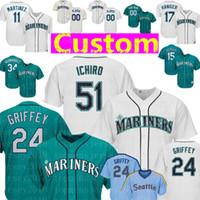 8c78ae72786 Custom Seattle Mens Mariners Jersey 24 Ken Griffey Jr. 51 Ichiro Suzuki 20  Vogelbach 34 Hernandez 11 Martinez 18 Kikuchi 15 Seager