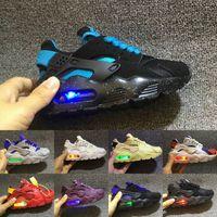 luces intermitentes para zapatillas al por mayor-Flash Light Air Huarache Kids 2019 Nuevas zapatillas para correr Infant Run Zapatillas deportivas para niños al aire libre lujoso Tenis huaraches Zapatillas deportivas para niños