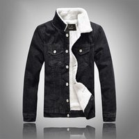 Wholesale mens slim fit down coat for sale - Group buy Fashon Mens Denim Jacket Slim Fit Black Fleeced Turn Down Neck Jean Jackets Large Size M to XL Winter Coats for Male