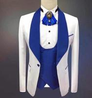 tek düğmeli groomsmen yelek toptan satış-Yakışıklı Şal Yaka Groomsmen Bir Düğme Damat Smokin Erkek Takım Elbise Düğün / Balo / Akşam Yemeği İyi Adam Blazer (Ceket + Pantolon + Kravat + Yelek) 085