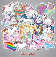 Wholesale 50Pcs Laptop stickers Cartoon Unicorn Horse Pusheen Graffiti Trolley Case Car Removable Cute Diary Sticker toys for children