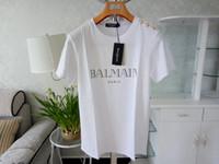 xxl beyaz gömlek toptan satış-Balmain Erkek Tasarımcı T Shirt Pembe Sarı Beyaz Siyah Kırmızı Erkek Kadın Tasarımcı T Shirt Balmain T Gömlek Beden S-XXL