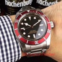 ingrosso orologio meccanico rosso-Tudorrr Automatico in acciaio inossidabile meccanico Lunetta rossa Nero ROTOR MONTRES Solid Clasp lusso Orologio da uomo di design Orologi da polso