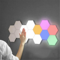 Wholesale whites lamps products for sale - Group buy LED hot product douyin quantum induction lamp optional background light six decorative wall lamp restaurant honeycomb remote control lamp