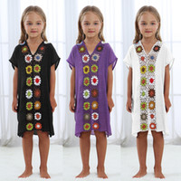 kids dress up 도매-아이 키즈 꽃 크로 셰 뜨개질 dreess 파 레오 비치 수영복 은폐 비치웨어 아동 셔츠 커버 업 및 튜닉 드레스 Coverups LJJA2591