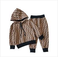 baby-baumwoll-kapuzenpulli großhandel-2019 neue marke kinder hoodies und hosen kinder baumwolle anzüge männer baby mädchen herbst anzug baby sportanzug 2 / set