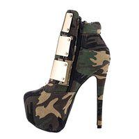 botas verdes del ejército de las mujeres al por mayor-2018 nuevo tamaño grande botas de moda para mujer Army Green punta redonda plataforma de oro tacones altos invierno mujer Martin Boots tobillo zapatos de mujer botas