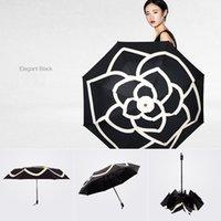 vinil yağmur toptan satış-21 inç yaratıcı Kamelya şemsiye Açık vinil kauçuk kolu 3 katlanır şemsiye yağmur kadınlar Moda zarif lüks