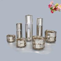 acryl-kosmetik-gläser für cremes großhandel-Silber Vogelnest Form Flasche Spray Lotion Pumpe Flasche Leere Emulsion Acryl Creme Kosmetikdose 15g 30g 50g 30ml 100ml