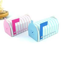 pembe mavi hediye kutuları toptan satış-Yeni Mini Posta Kutusu Şeker Kutusu Pembe Mavi Şerit Düğün Hediyesi Favor Tatlı Ambalaj Karton Sıcak 0 45wj Ww