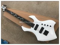 Wholesale white pearl guitar for sale - Group buy White body strings Electric Bass Guitar with Colorful Pearl Snake Pattern Black hardware pickups Rosewood fingerboard offer customize