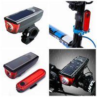 farol de luz led bicicleta venda por atacado-Carregamento USB luz da bicicleta solar inteligente indução de luz mountain bike faróis com equipamentos de equitação chifre acessórios ZZA272
