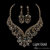 Wholesale gold plated pierced earrings resale online - Cheap High Quality Necklaces and Earrings Rhinestone Gold Statement Bridal Jewelry Sets Choker Prom Party Wedding Accessories