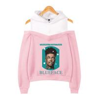 sevimli kore tay tayt toptan satış-Kadın Giysileri 2019 Kapüşonlu Sweatshirt Blueface Harajuku Kawaii Pembe Kapalı Omuz Hoodie Sevimli Kore Sokak Moda