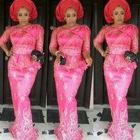 popüler maxi elbiseler toptan satış-Fuşya Nijerya Uzun Mermaid Abiye Nijeryalı Aso-ebi Dantel Stilleri Maxi Elbise Üst Popüler Cevher-Iyawo Artı boyutu Afrika Abiye