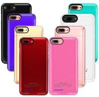 iphone mais banco de poder venda por atacado-Para iPhone X 8 7 6 Plus Power Bank Battery Slim Case telefone carregador de bateria externa caso capa Voltar Com Kickstand Com pacote de varejo