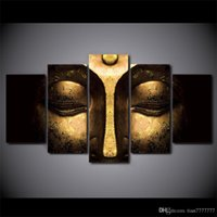 Wholesale multi picture digital frame resale online - 5 set No frame Half face Buddha Paintings on Canvas Modern home decoration Wall Art print Picture Room decor Wall poster