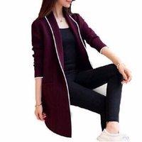 ingrosso cappotto senza bottoni-le vendite di vendita superiori Maglione Donne moda due tasche laterali cardigan lungo cappotto maglione senza tasto C019