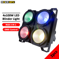 audience blinder lights 2021 - New Product 2pcs lot 4*100w audience par light colorful RGB LED blinder light professional stage lighting blinders