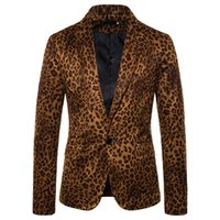 terno de impressão leopardo para homens venda por atacado-Luxo mens Leopard Blazer de impressão 2019 dos homens Slim Fit terno de negócio blazers Casual Blusa Jacket blaser masculino