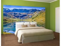 Wholesale beautiful kids beds resale online - custom size d photo wallpaper bedding room mural beautiful mountain lake scenery picture sofa TV backdrop wallpaper non woven wall sticker