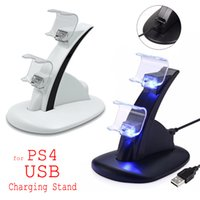Wholesale playstation xbox one for sale - Group buy LED Dual Charger Dock Mount USB Charging Stand For PlayStation PS4 Xbox One Gaming Wireless Controller With Retail Box ePacket Free