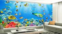 pintando tecido de menina venda por atacado-papel de parede para paredes 3 d para sala de estar Underwater World 3D parede de fundo