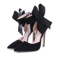 застроенный башмак оптовых-Новая коллекция весна-лето мода сексуальный большой лук острым носом на высоких каблуках сандалии обувь женщина дамы свадьба туфли на высоком каблуке туфли