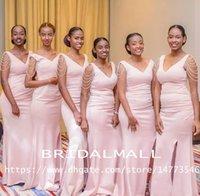 ingrosso abito rosa da raso damigella d'onore-Scollo a V Perle Rosa Abiti da Damigella d'onore Lunghi 2020 Satin Maid Of Honor Dress Abiti da Damigella d'onore Plus Size Wedding Guest Party Gowns