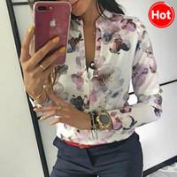 ingrosso eleganti camicette casual-2019 primavera donna elegante camicetta casual stampa floreale pulsante design camicia a maniche lunghe di base Top Size S-XL