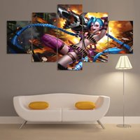 Wholesale league legends decor for sale - Group buy 5 Pieces League of Legends Jinx Painting Pictures Canvas Printed Modern Wall Art Home Decor For Living Room Game Poster Cuadros