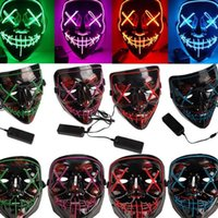 Wholesale night hot costumes for sale - Group buy Hot style Halloween mask costume party masks ghost scary mask LED party control night light masks skull maskT2I5035