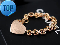 ünlü altın zinciri toptan satış-Yüksek Kalite Ünlü tasarım Gümüş Altın Zincir bilezik Kadın Mektup Kalp şeklinde Yonca Bilezikler Takı Ile toz torbası Kutusu