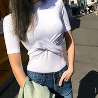 простые женские хлопчатобумажные рубашки оптовых-Women Solid Plain Shirt Casual Basic White T Shirt Fashion Cotton Short Sleeve T Streetwear