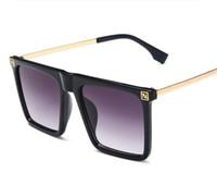 ingrosso occhiali da sole da donna oversize-Occhiali da sole oversize Donna Semimetallico Big Frame Square Occhiali da sole Vintage Occhiali da sole Travel Ladies Shades uomo Occhiali UV400
