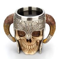 ingrosso cranio di corno-Coppe in resina per corno di pecora Teschio Coppe in acciaio per ufficio in acciaio inox 550ML doppia vendita caldo