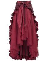 открытые юбки оптовых-Lace Up Black Maxi Skirt Women Asymmetric Steampunk Retro Victorian Lolita Punk Ruffled Long Lace-up Open Skirt Elegant