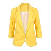 beyaz blazerler ince kadın sığacak toptan satış-Açık Ön Çentikli Blazer 2019 sonbahar Kadın Resmi Ceketler Ofis Işleri Slim Fit Blazer beyaz Bayanlar 11 renk boyutu S-XXL T5190612 suits