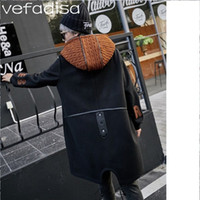 casaco de laranja inverno meninas venda por atacado-Carta de Inverno Vefadisa De Lã Com Capuz Trench Coat Com Cordão Laranja Camisola Chapéu Casaco Meninas Irregular Botão Longo Outwear ZLD247