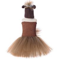 4t halloween kostüme großhandel-Brown Mähne Pferd Tutu Kleid mit Hut niedlichen Tier Pony Halloween Kostüm Kinder Mädchen Geburtstag Party Kleid Kinderkleidung