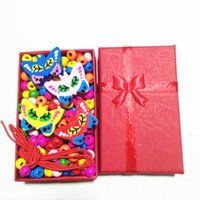коробка для кошек оптовых-A Box Butterfly Owl Cat Wood Beads Children's Necklace Bracelet DIY Beads Set Handmade 1 Necklace +1 Bracelet For Kid's Gifts