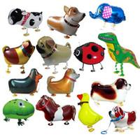 dibujos animados de globos de papel de aluminio al por mayor-Venta al por mayor Super Cute Cartoon Pet Helium Walk Animals Balloon Globo de papel de aluminio para fiesta Cumpleaños Navidad Halloween Decoración de la boda