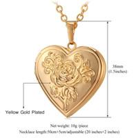 herz-locket-foto-rahmen halskette großhandel-Herz Medaillon Halsketten-Anhänger Metall Messing Gold-Foto-Rahmen-Speicher Romantic Love Halskette für Frauen-Weihnachtsgeschenk Heißer Verkauf