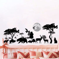 Wholesale 3d window art for wall for sale - Black African Steppe Animal Silhouette Wall Stickers Home Decor Bedroom Window Deer Wall Decals PVC Tree Moon Art Mural Poster