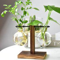 cam vazo hidroponik toptan satış-Topraksız Bitki Vazolar Vintage Masası Saksı Şeffaf Vazo Ahşap Çerçeve Cam Masa Bitkileri Ev Bonsai Dekoratif Saksı