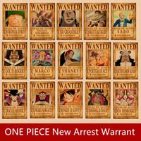 cartel de pared de una pieza al por mayor-UNA PIEZA más reciente recompensa por Lufei arresto quería carteles pegatinas de pared papel kraft carteles dormitorio pared pinturas decorativas
