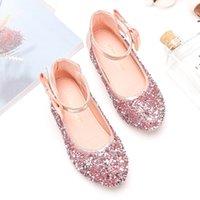 Wholesale high heeled shoes children resale online - Princess Kids Leather Shoes for Girls Glitter Children High Heel Girls Shoes Butterfly Knot Sweet Children Sandals SJD039