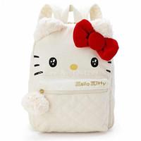 merhaba kanvas toptan satış-Yeni Moda Hello Kitty Kızlar Için Tuval Beyaz Okul Çantaları Çocuk Sırt Çantası Çocuk