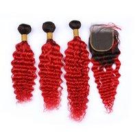 красный омбрей человеческий переплет оптовых-Бразильские волосы 3 пучка глубокая волна с закрытием два тона 1B красный темный корни Ombre человеческих волос плетение с кружевом закрытия